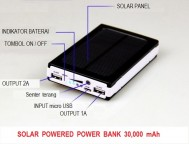 Power Bank Solar Cell / Panel Surya 30.000mAh
