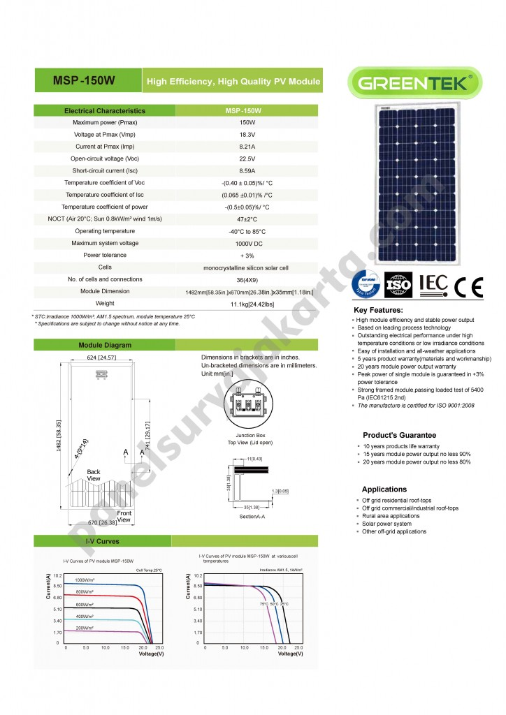 panel surya greentek 150 wp monocrystalline